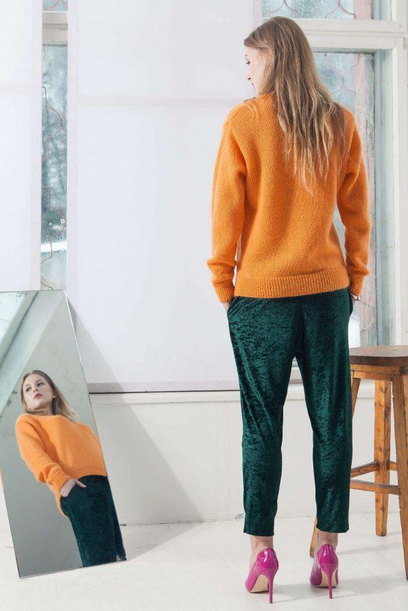 Orange mohair crew neck womens sweater damen pullover SUE