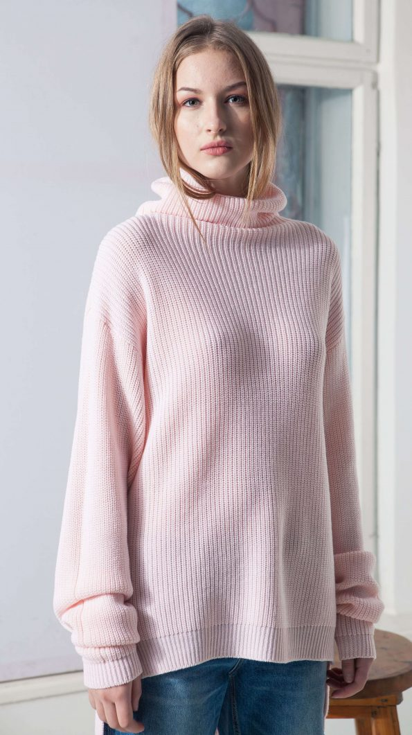 PINK RIBBED TURTLENECK PULLOVER CAMI