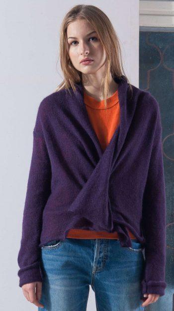 Purple mohair short open front womens cardigan damen strickjacke LYNN