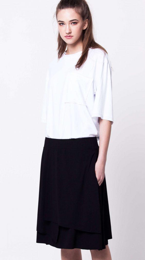 Black layered jersey womens ladies skirt damen schwarzer rock HANNA