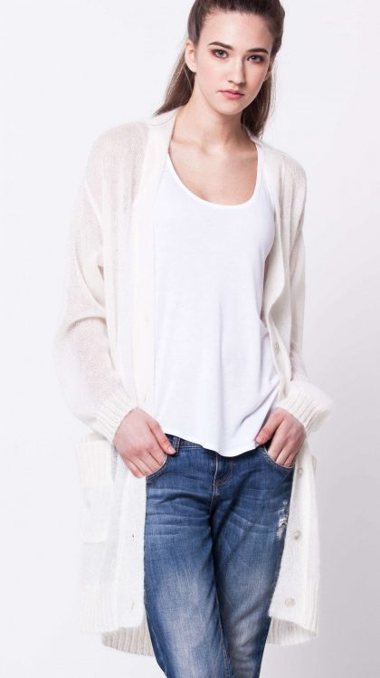 White long mohair cardigan damen strickjacke LYKKE