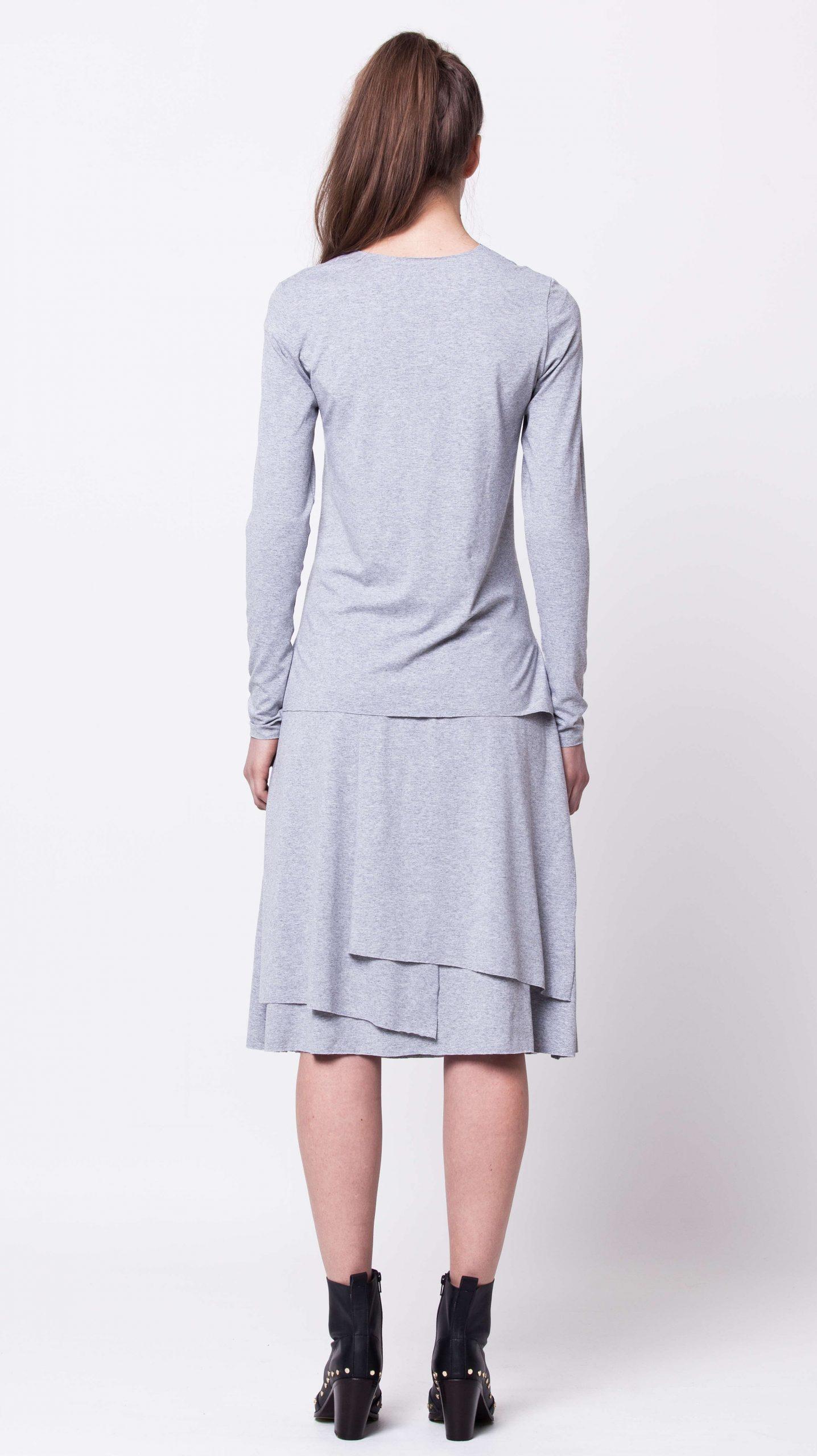 Grey layered jersey womens ladies skirt top set damen grauer rock HANNA GREY