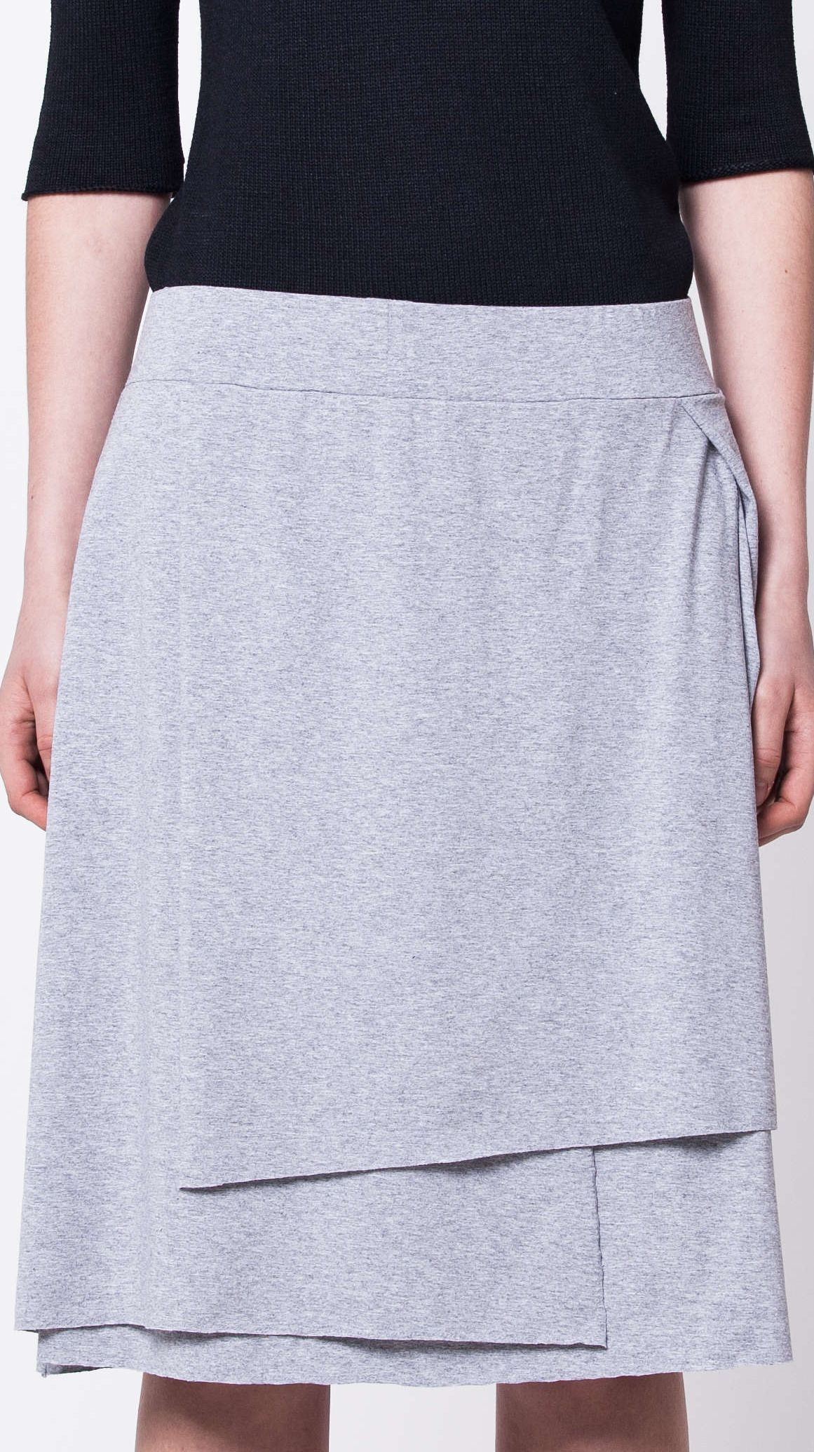 Grey layered jersey womens ladies skirt graue damen rock HANNA GREY