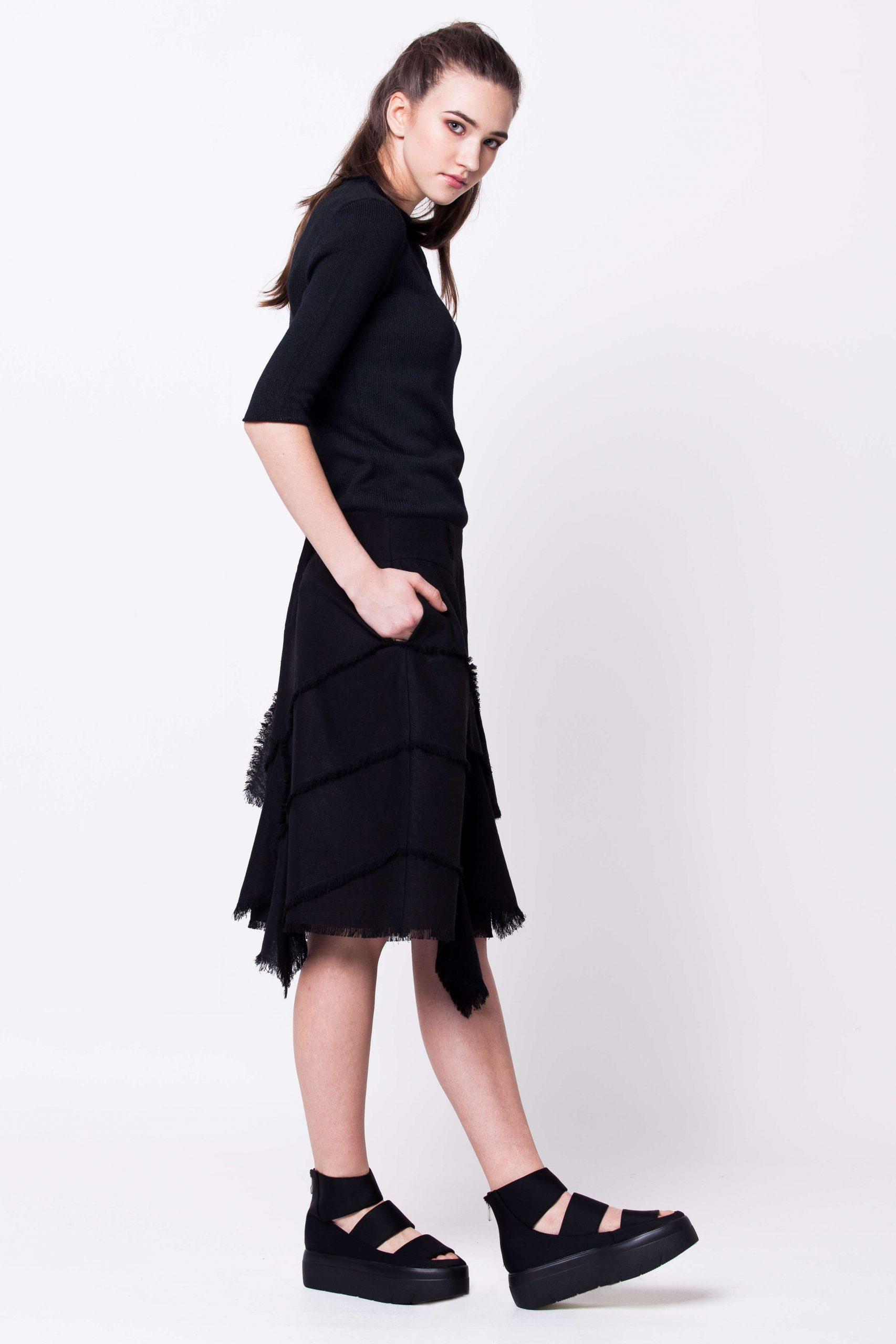 Black layered linen skirt schwarze damen rock ANNIKA