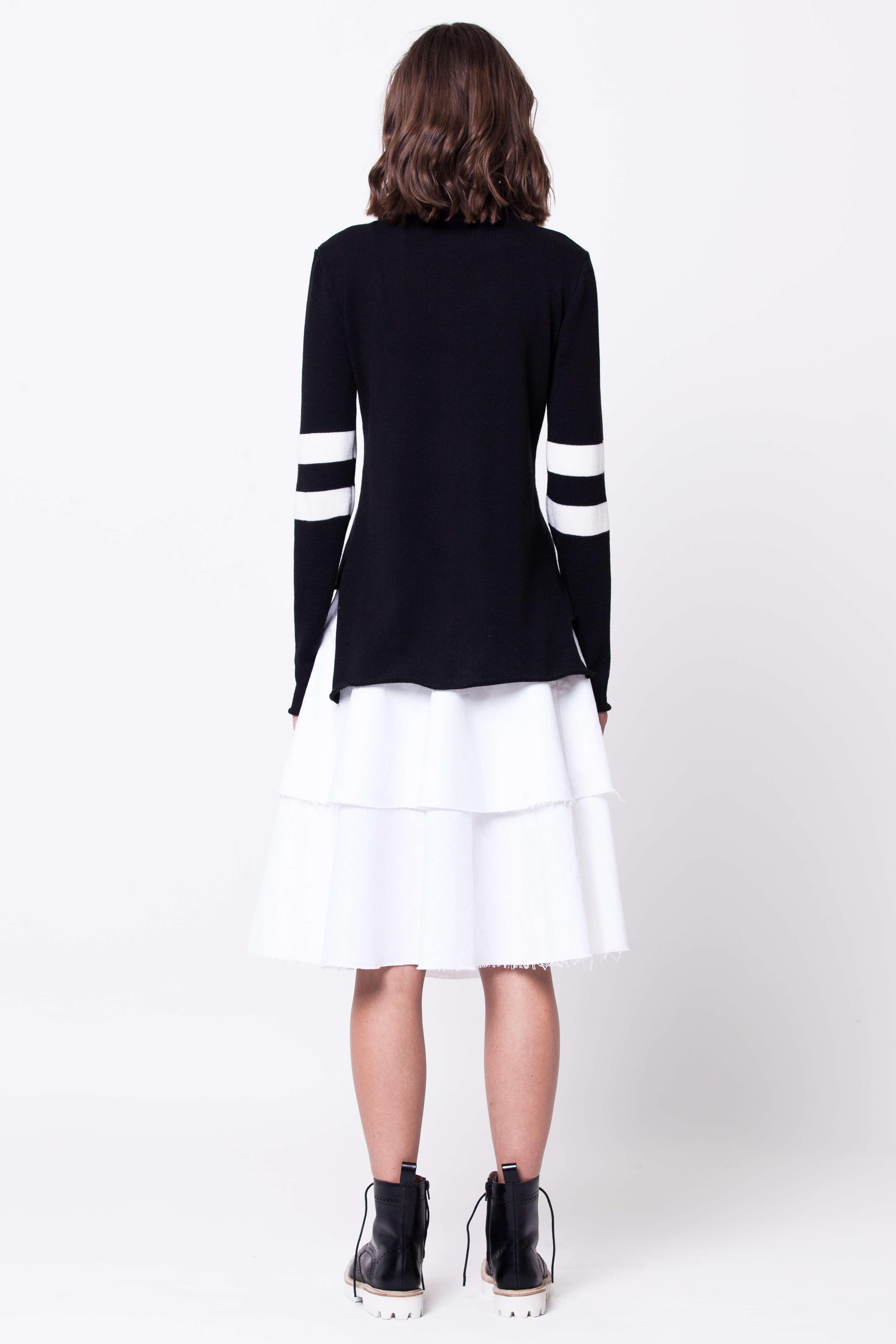 Black striped merino turtleneck womens ladies sweater damen pullover NINA