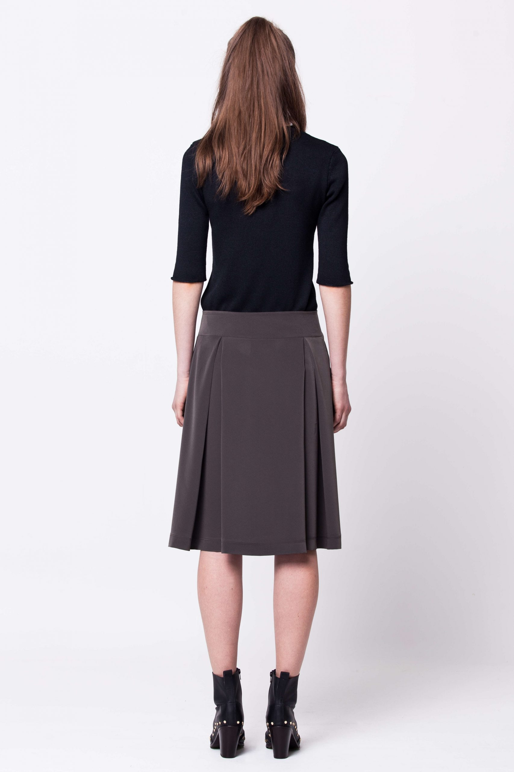 Dark green pleated A-line skirt damen rock MALENA