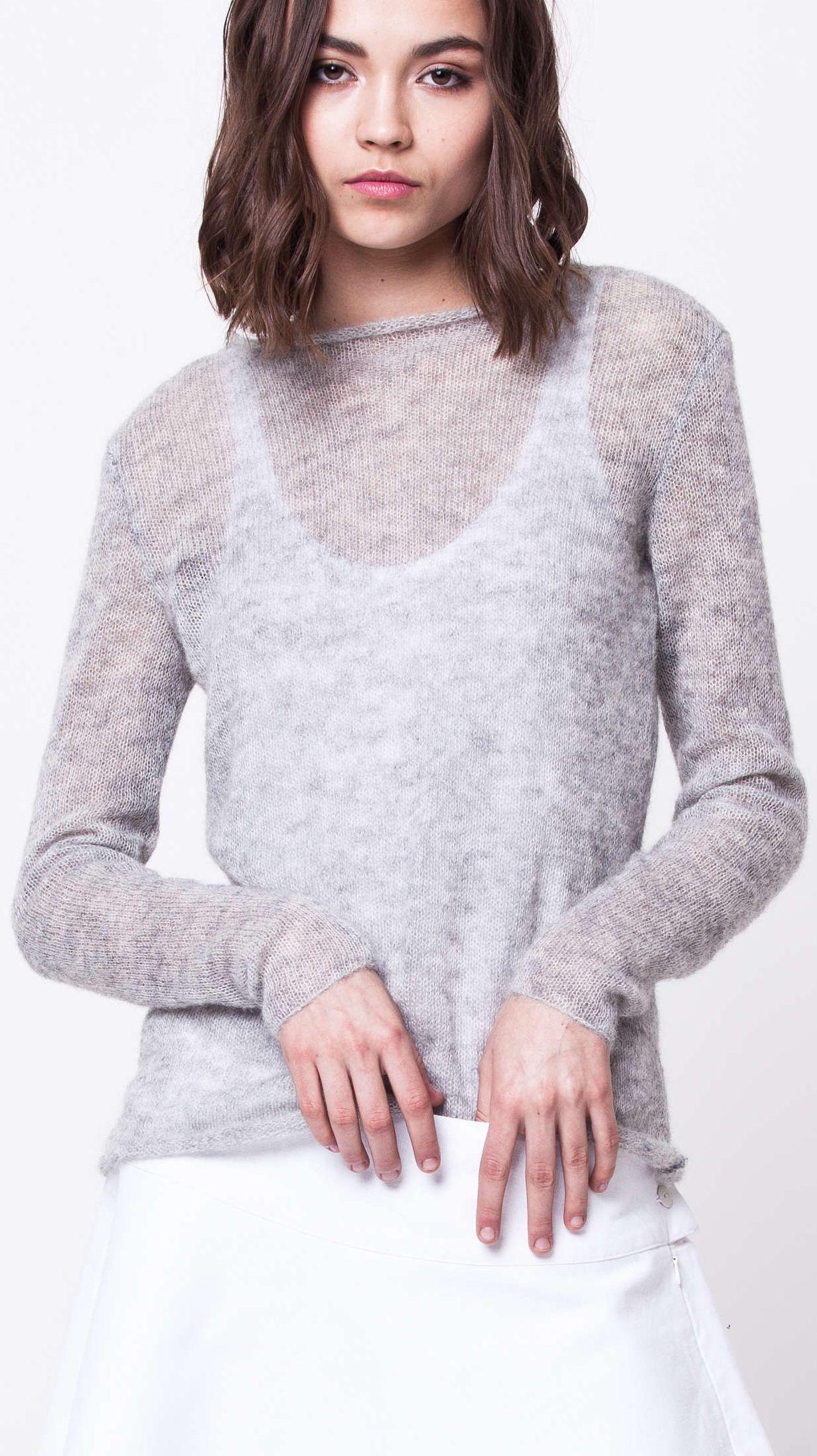 damen pullover grey mohair crew neck sweater jonna krista elsta  grey mohair crew neck sweater jonna
