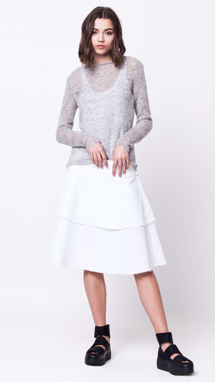 Grey mohair crew neck womens ladies sweater damen pullover JONNA