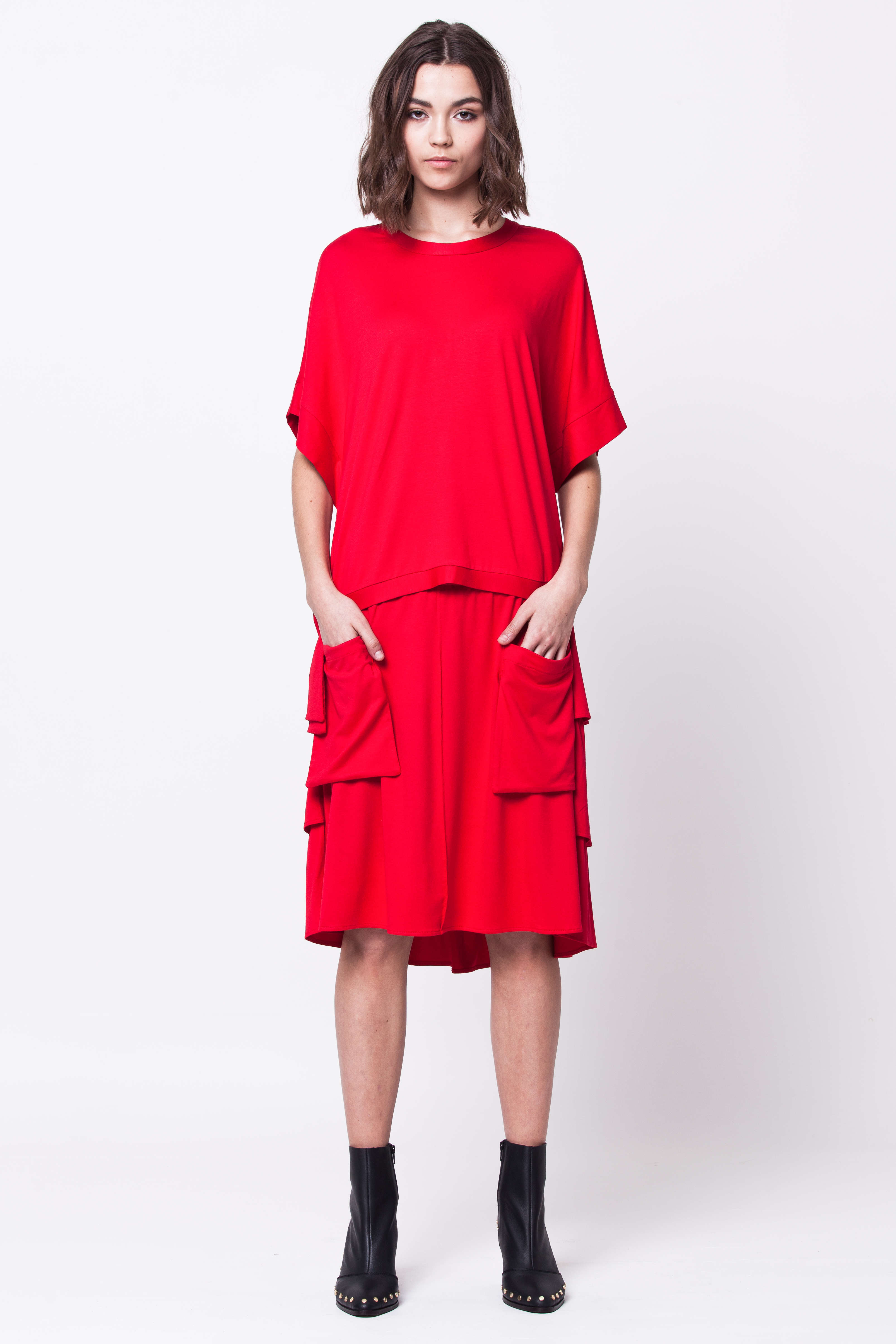 Red jersey top and skirt set co-ord MAJA