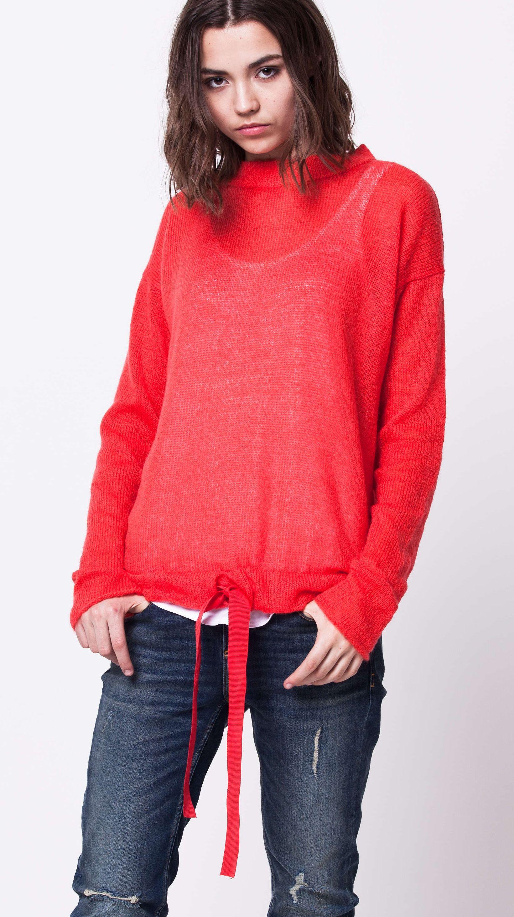 Red kidmohair crew neck womens sweater damen pullover KARI