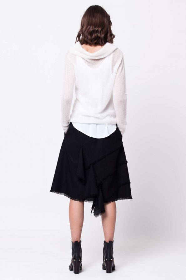 White mohair cowl neck sweater LISA