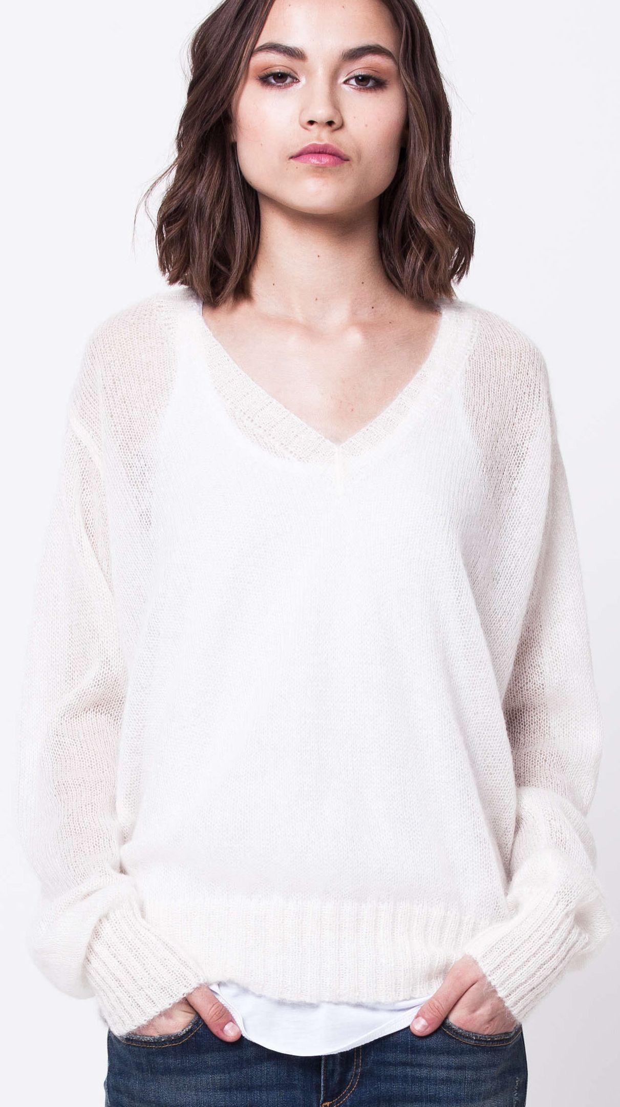 damen pullover white v neck mohair sweater linn krista elsta  white v neck mohair sweater linn