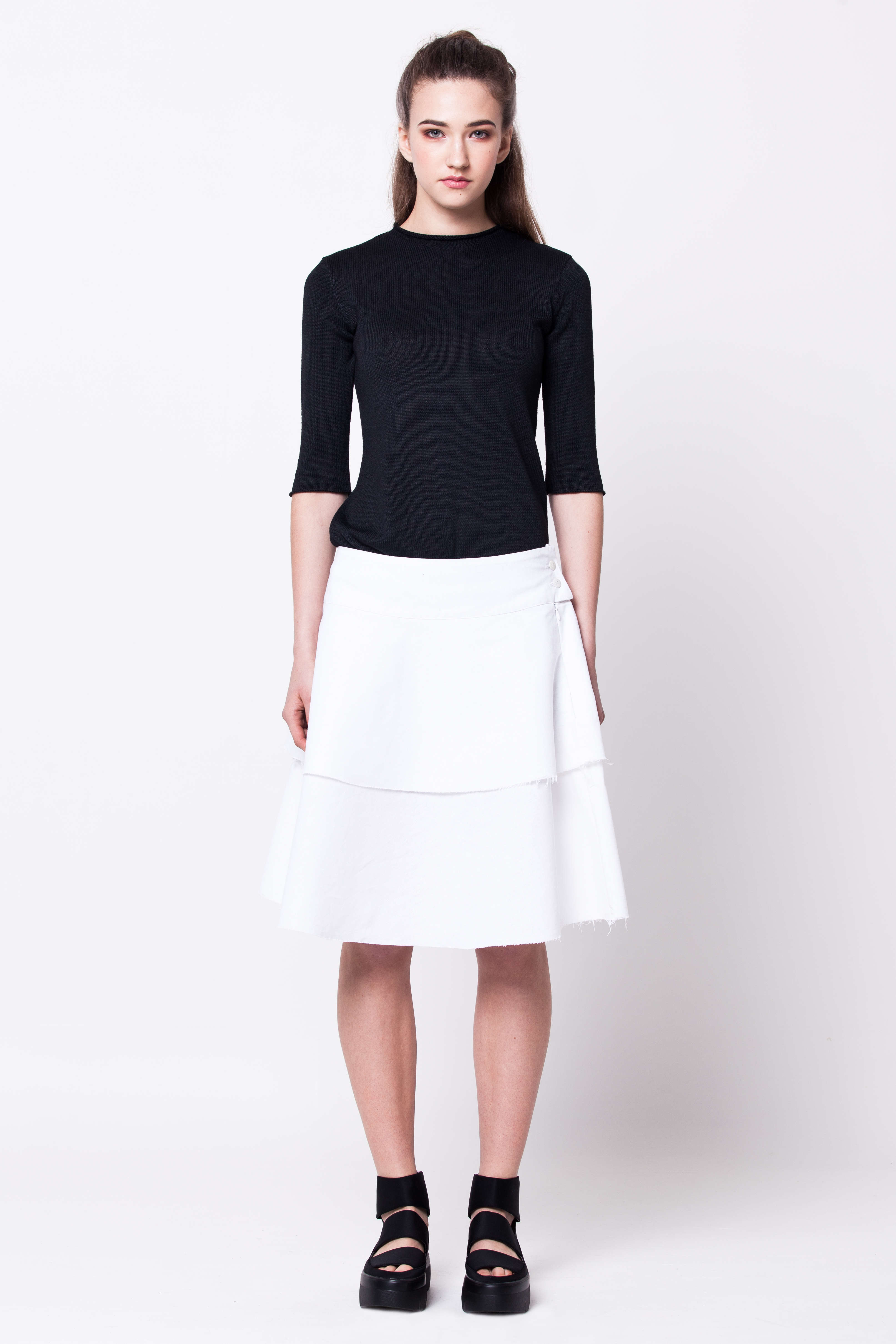 White linen layered womens ladies skirt damen rock weiss MARGRET