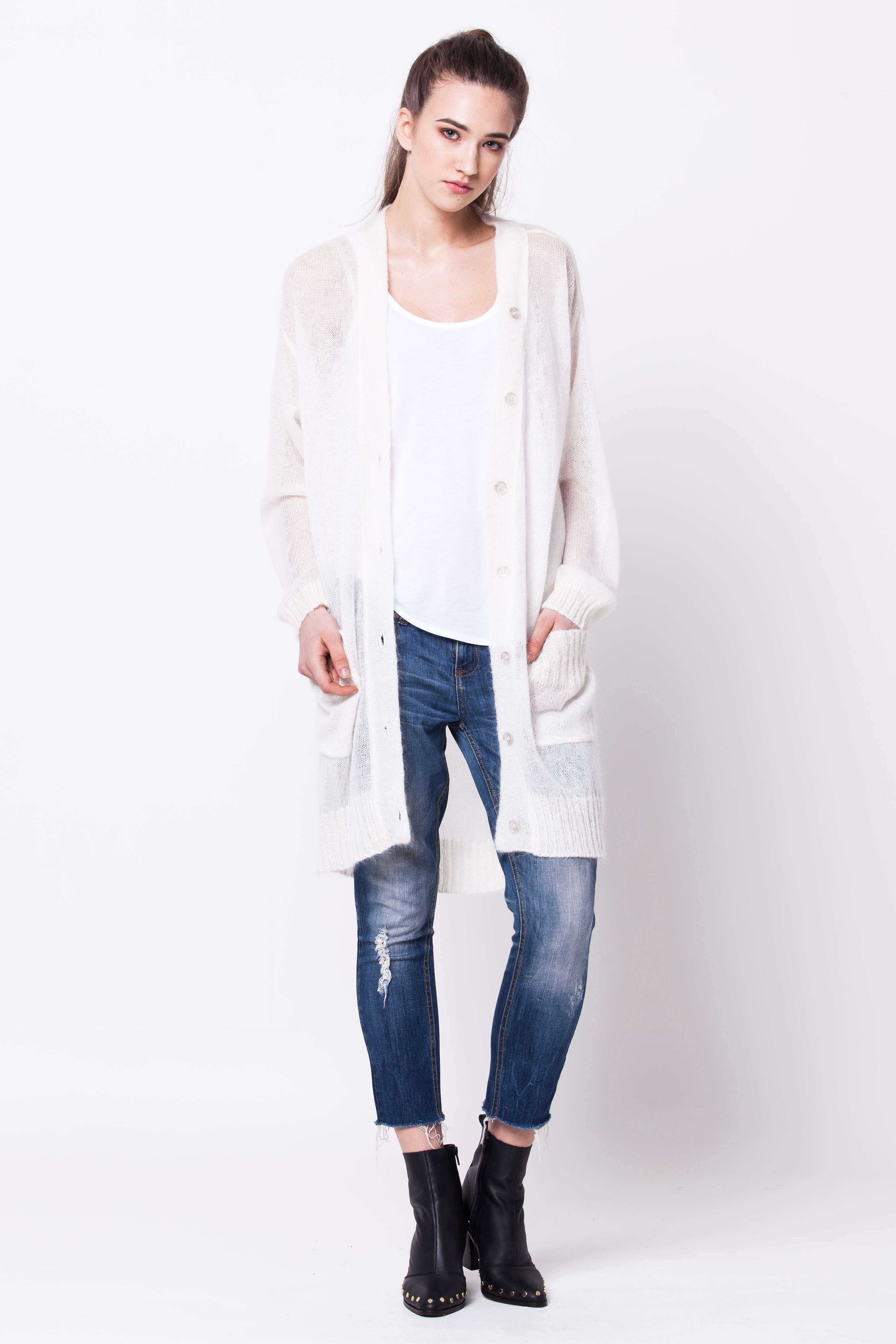 best website 0c432 77307 White long mohair cardigan LYKKE