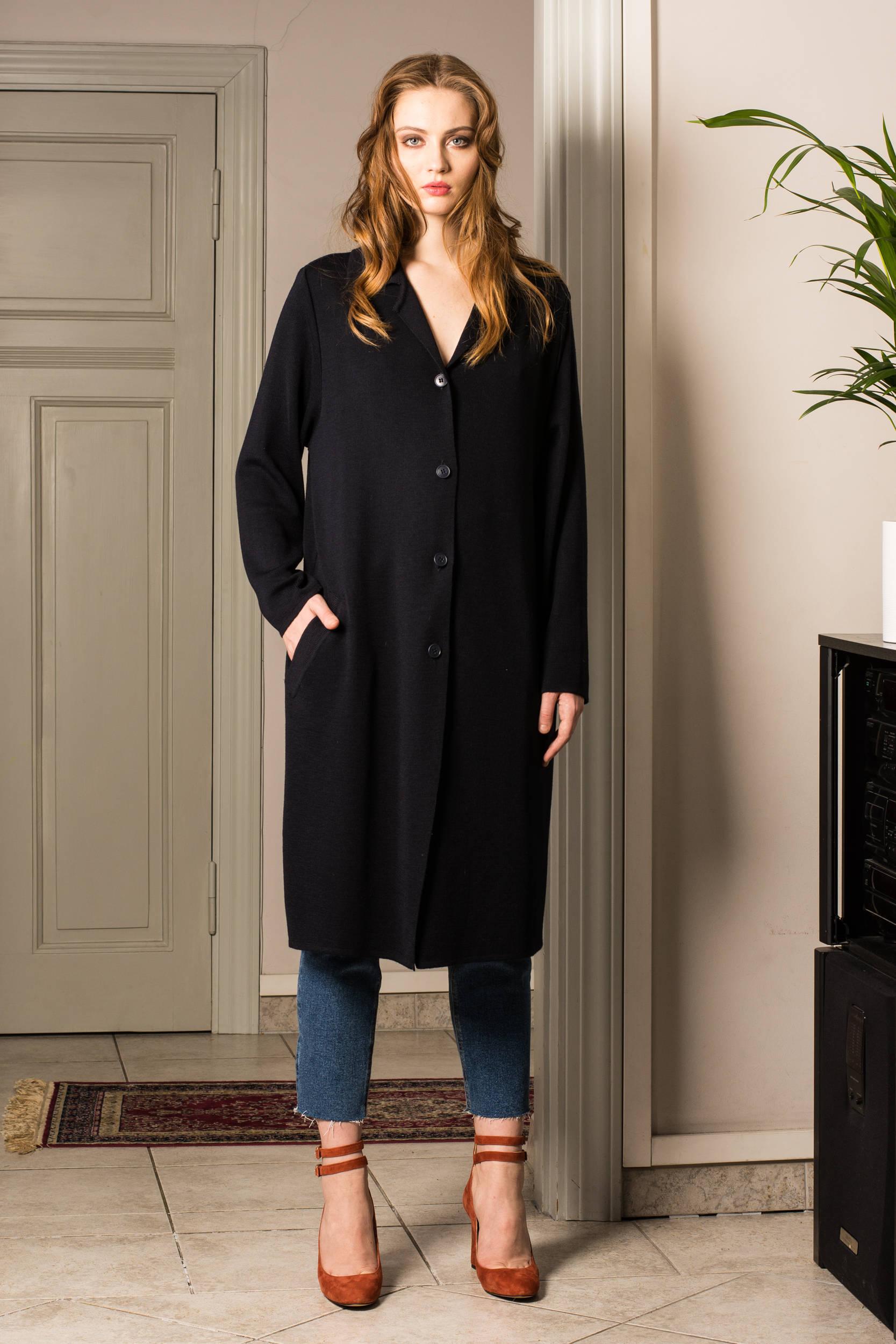 Fine knit womens coat long cardigan LAURA