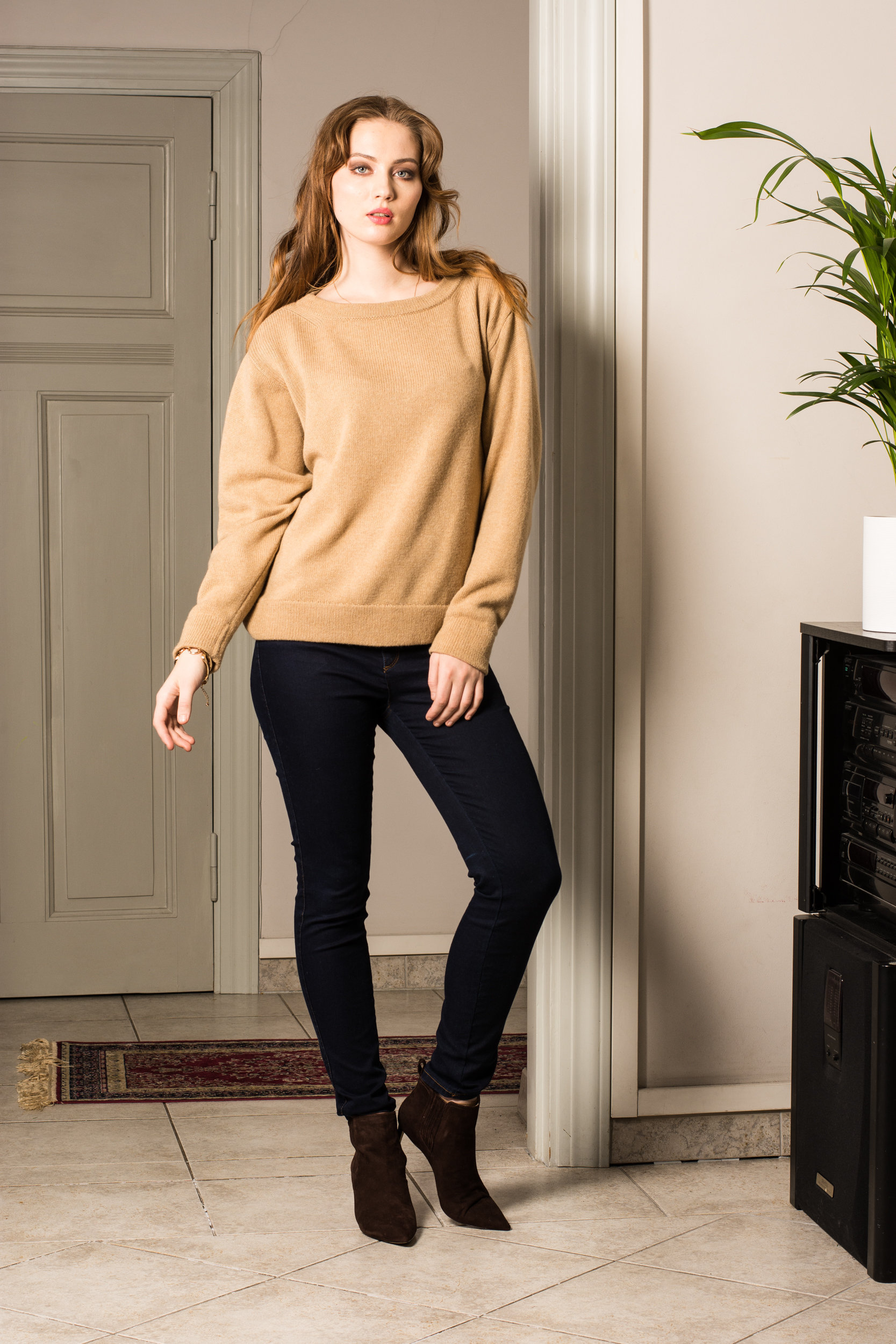 Camel cashmere crew neck womens sweater jumper pullover KAY