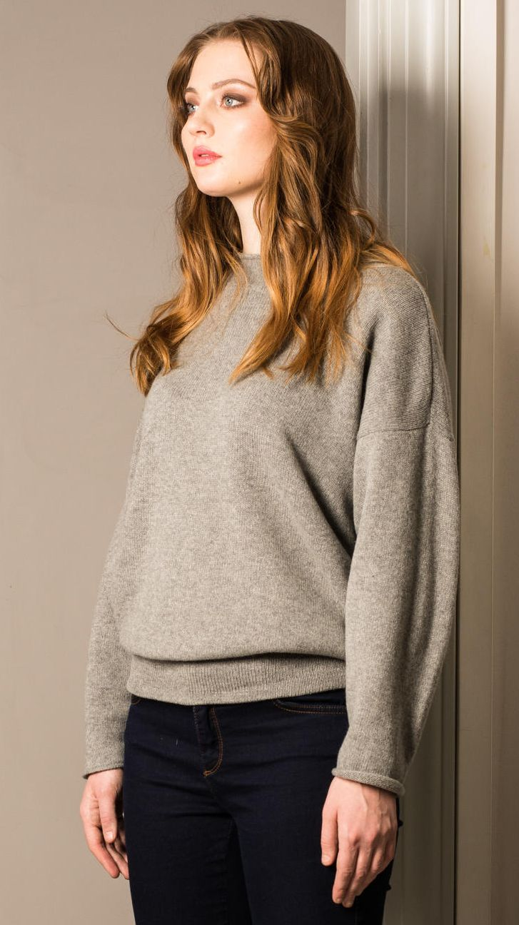 Grey cashmere womens sweater GRACE