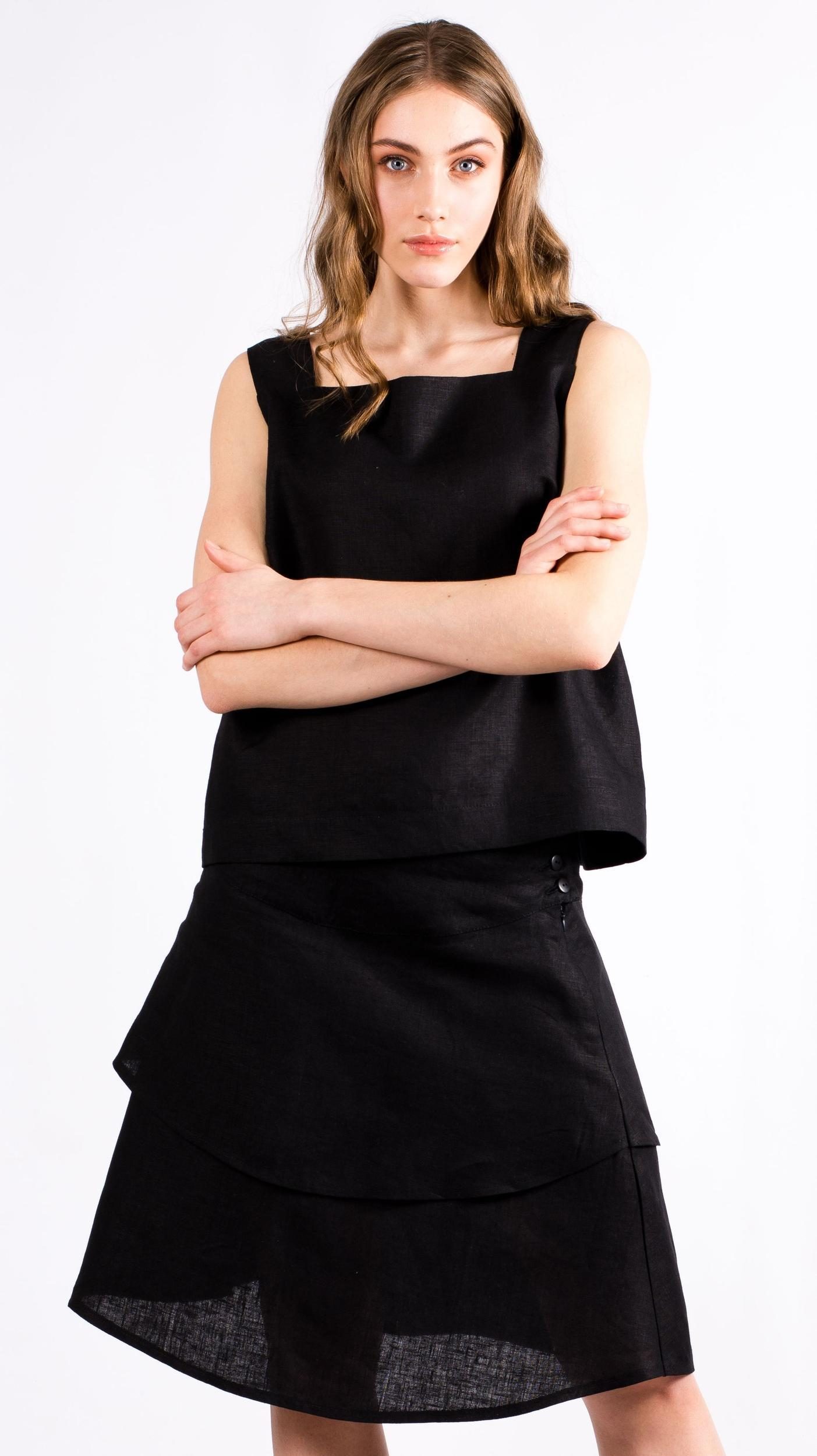 Black linen womens top skirt set