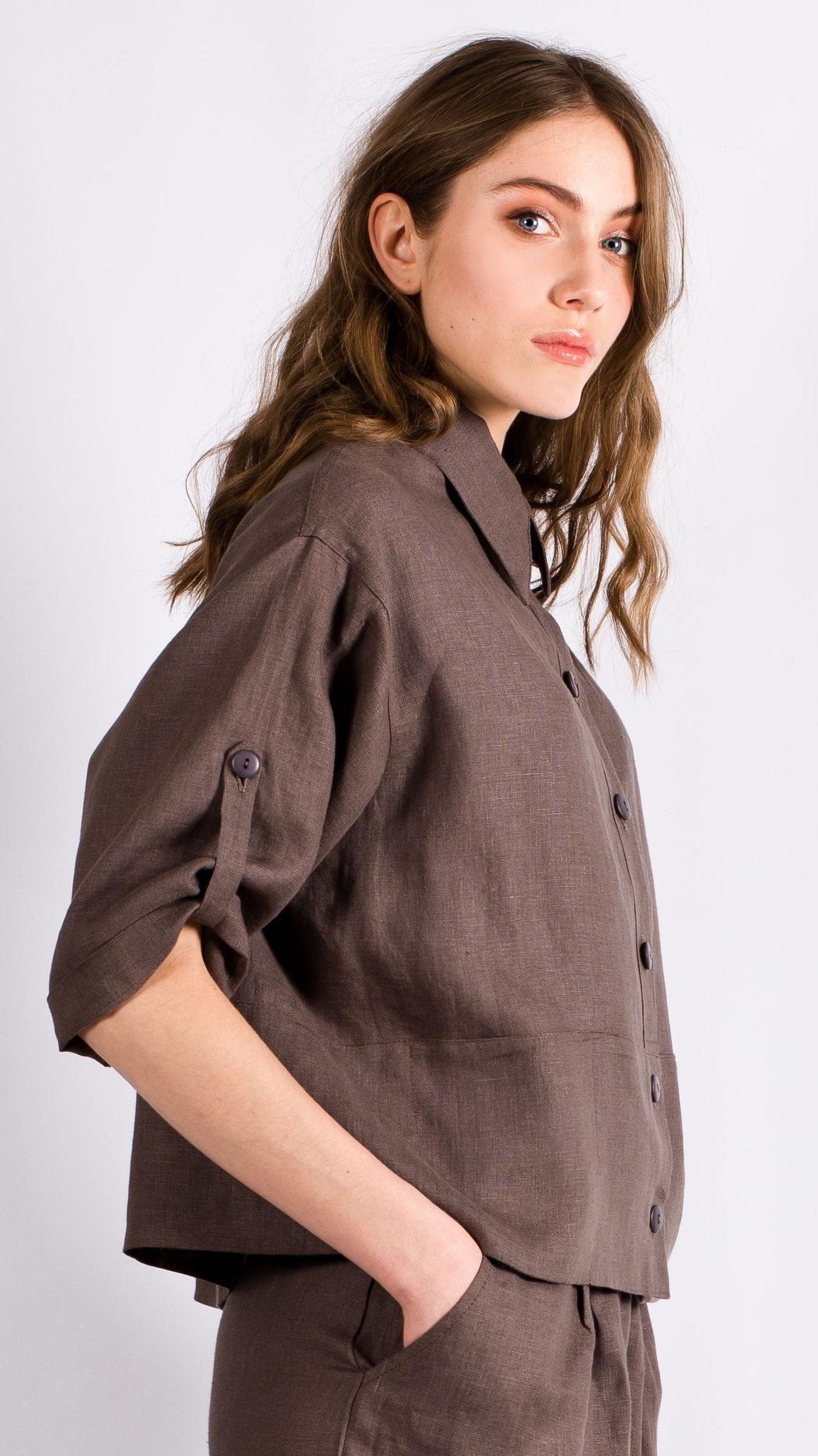 Brown womens linen shirt DAGMAR