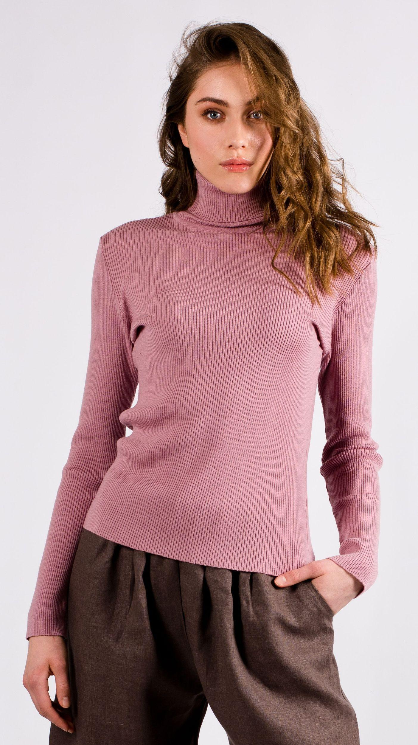 Dark pink womens turtleneck sweater HELGA