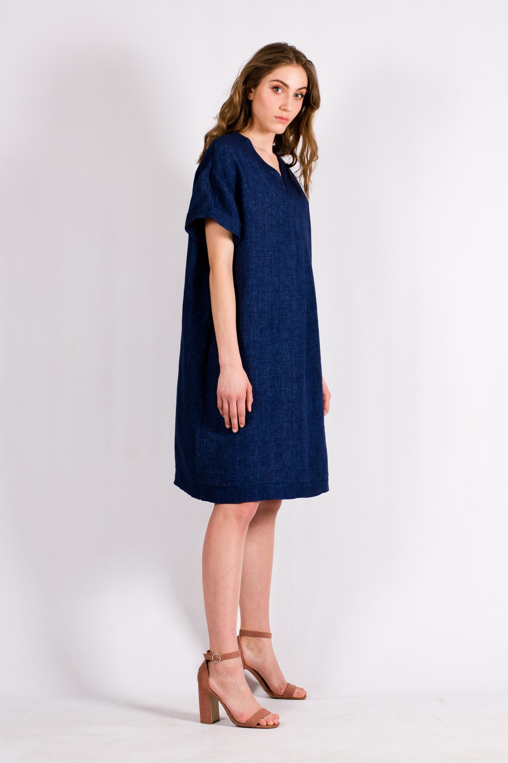 Denim blue linen dress tunic