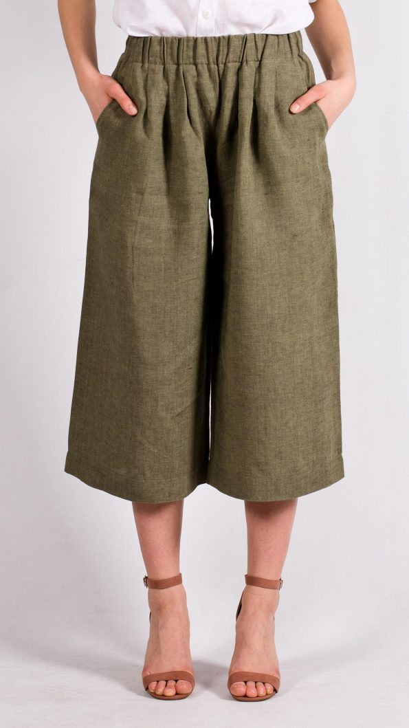 Green linen womens pants trousers capris