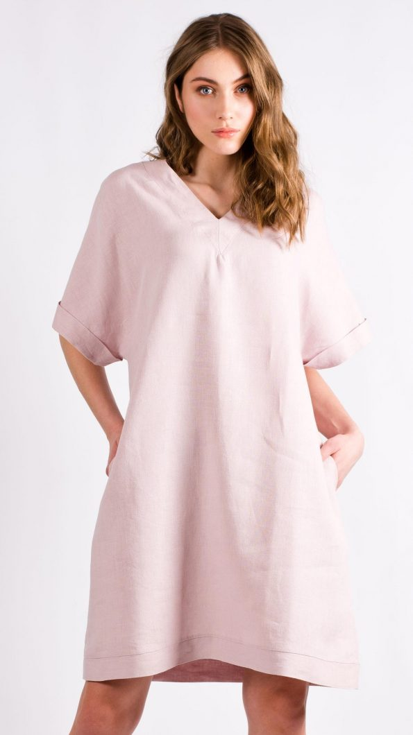 Light pink womens shift dress kimono ALBA