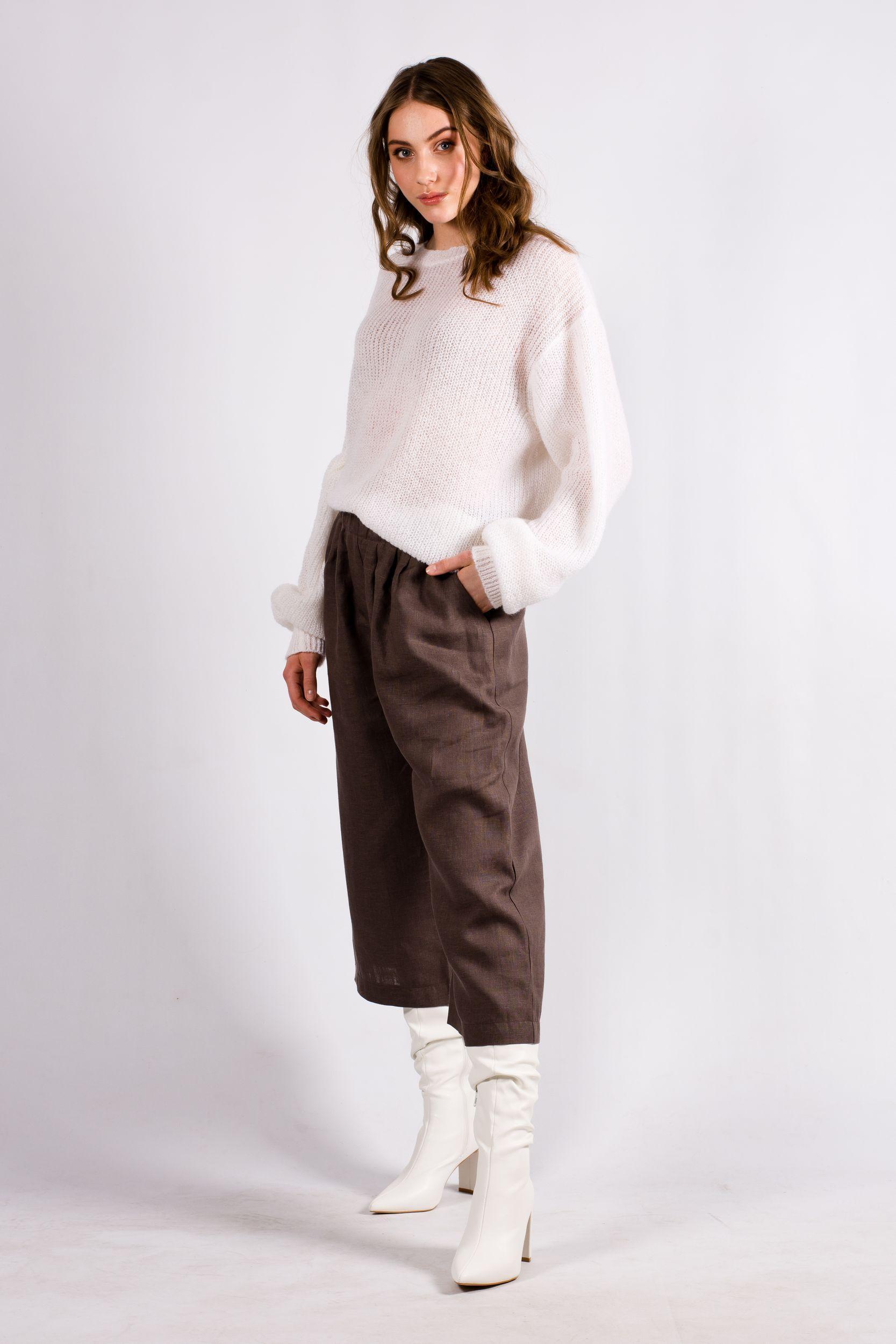 White chunky knit mohair crew neck sweater VIKTORIA
