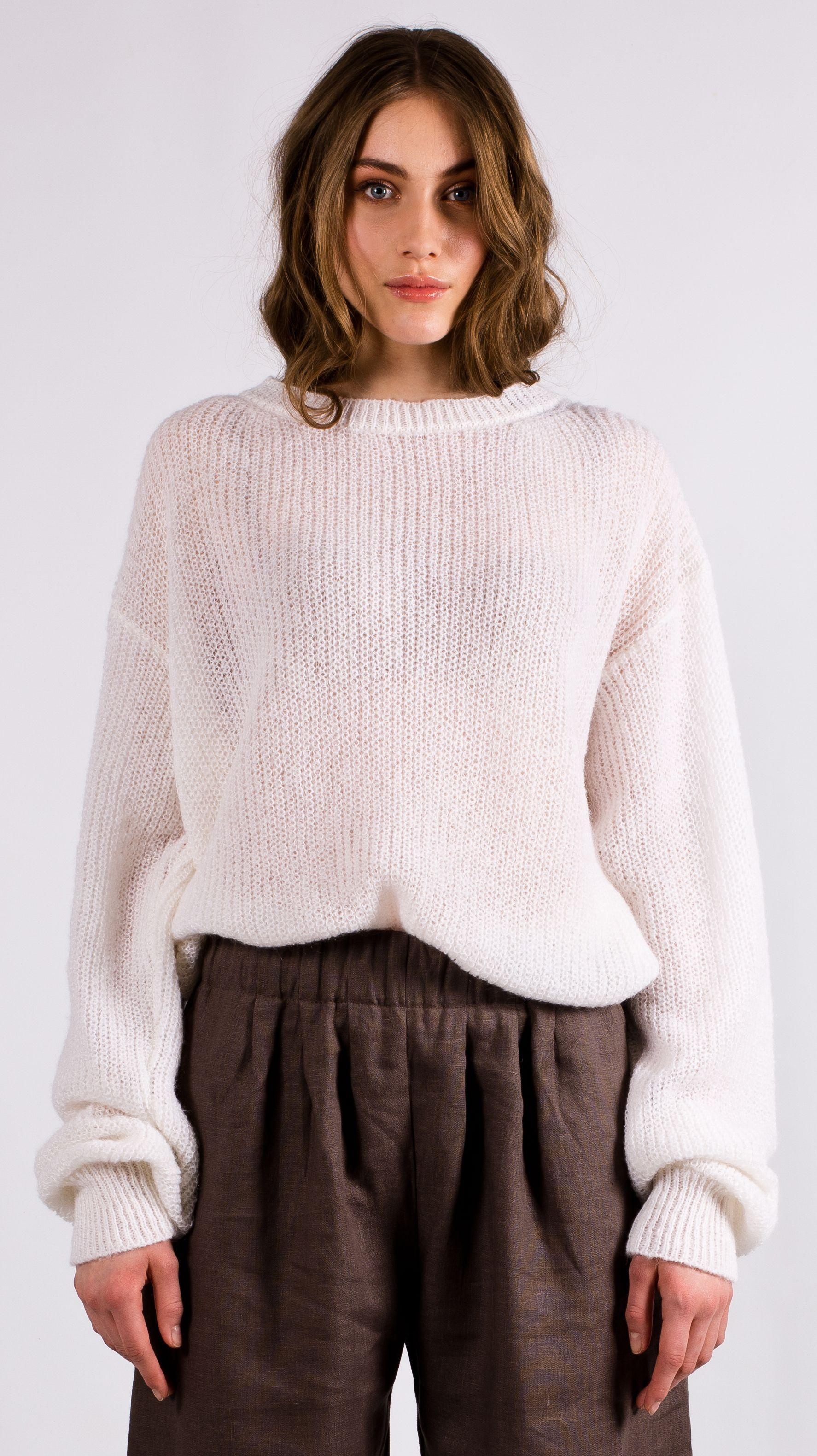 White chunky knit mohair crew neck sweater VIKTORIA