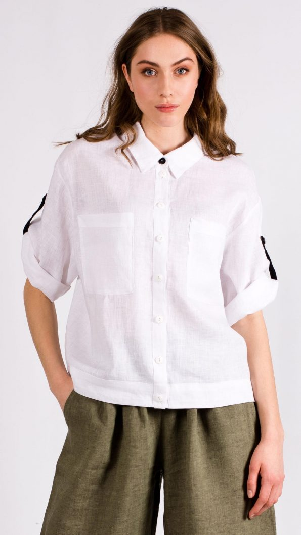 White linen womens shirt blouse jacket with pockets