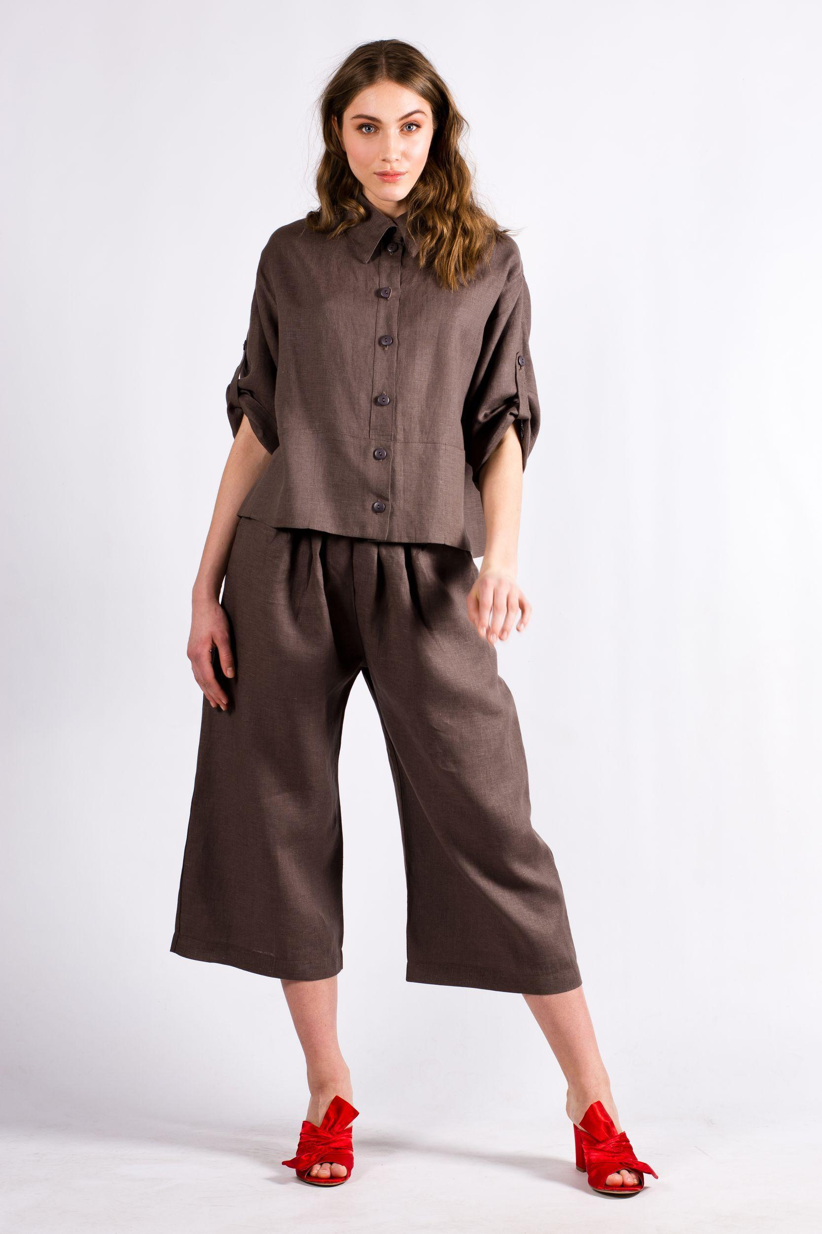 Brown womens linen set suit DAGMAR