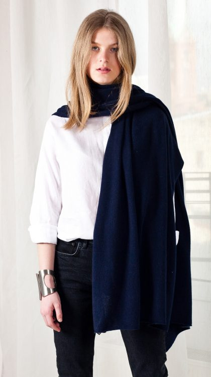 100% cashmere dark blue navy scarf travel wrap shawl
