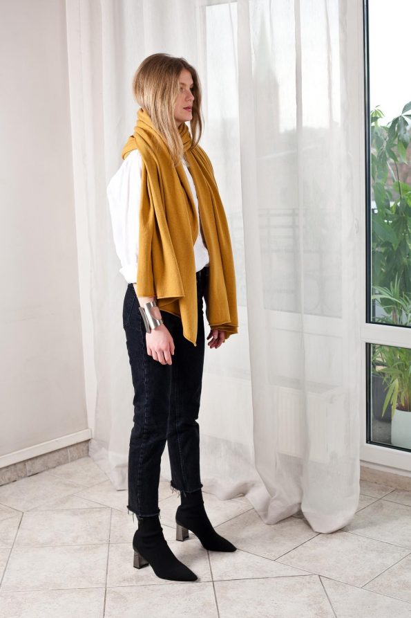 100% cashmere mustard yellow scarf travel wrap