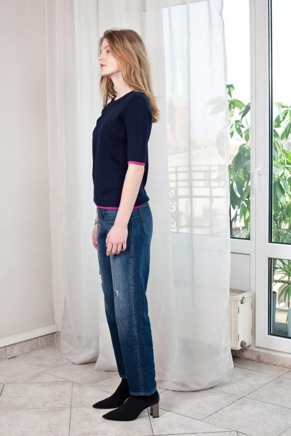 Knit womens top 3/4 sleeves dark blue merino wool