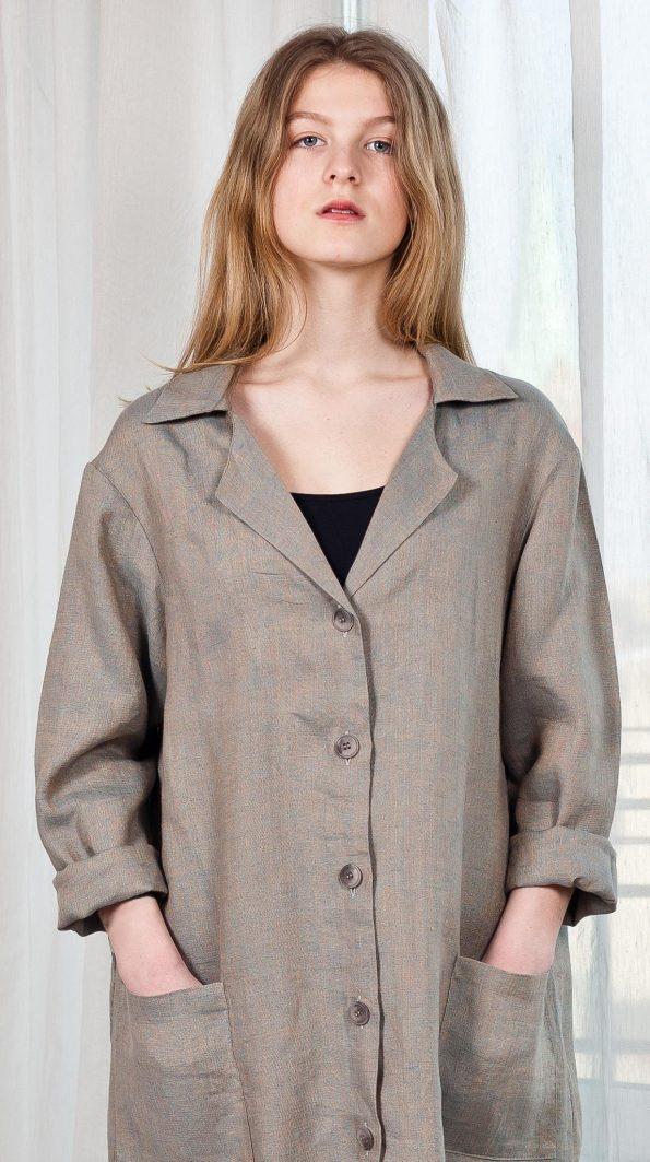 Linen coat long cardigan grey womens