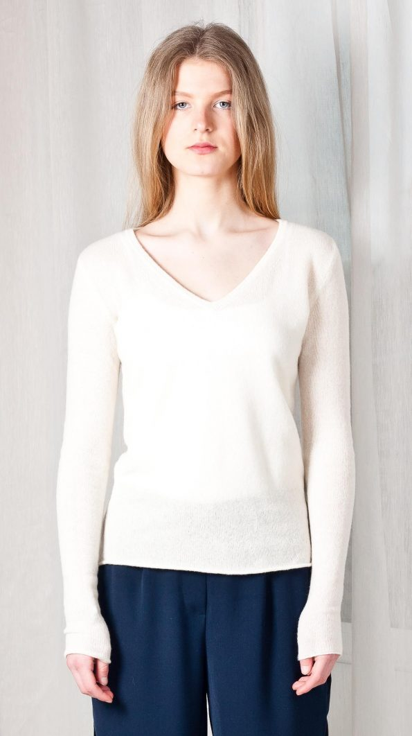 Off-white cashmere v-neck womens sweater