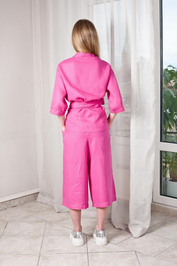 Pink linen top and pants suit