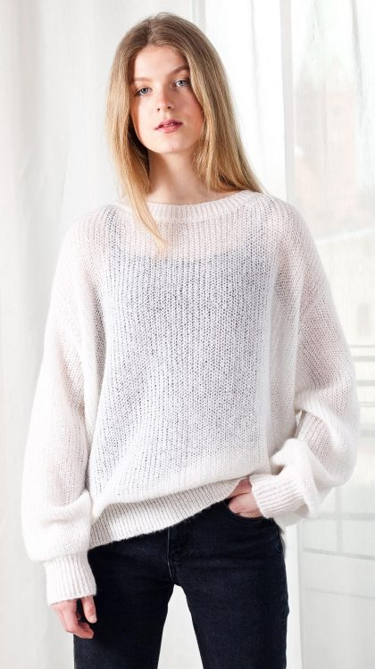 White mohair crew neck oversized long sleeve sweater jumper