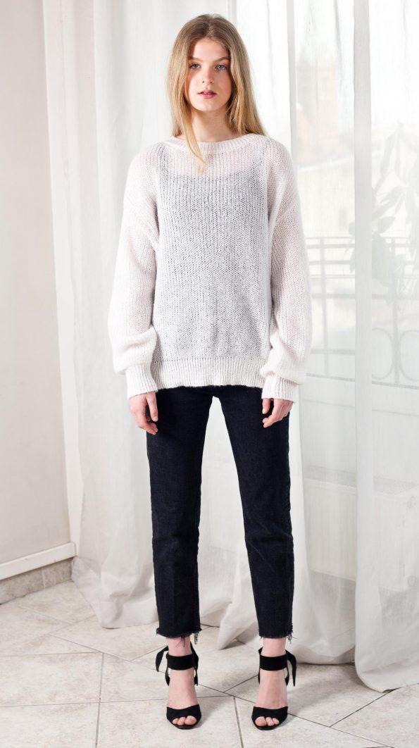 White mohair crew neck oversized long sleeve sweater jumper