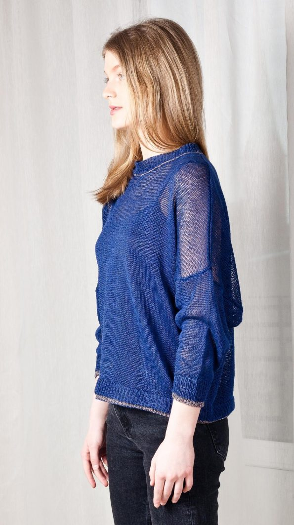 Sheer knit linen sweater women blue black strickpullover leinen blau schwarz damen