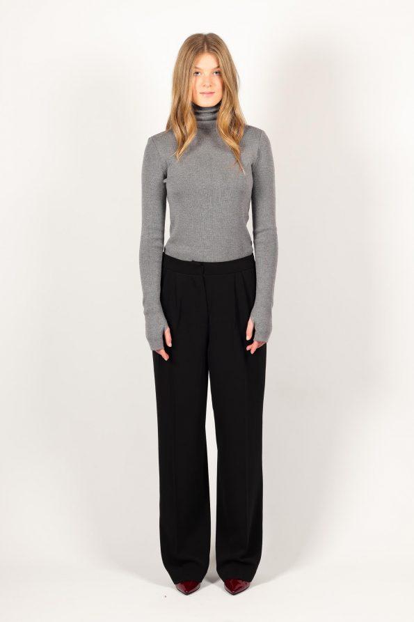 Knitted grey merino wool womens turtleneck roll neck sweater pullover jumper ADA