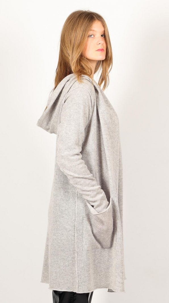 Grey hooded cashmere womens cardigan ALETHE