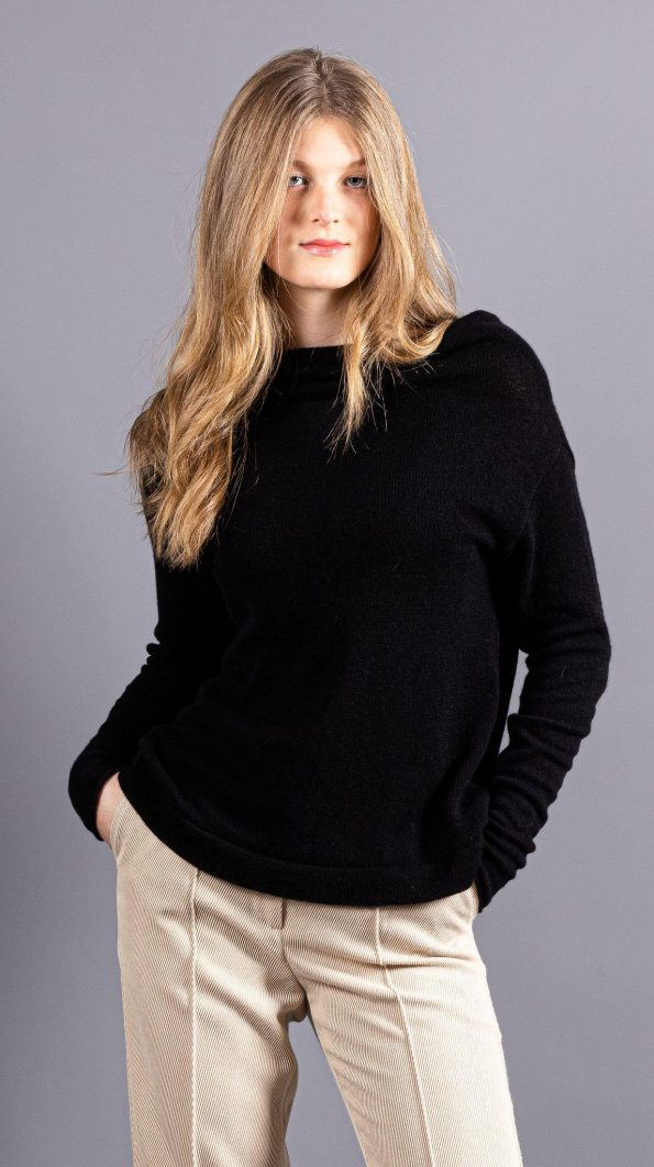 Black knitted cashmere off shoulder cowl neck womens sweater AGNES