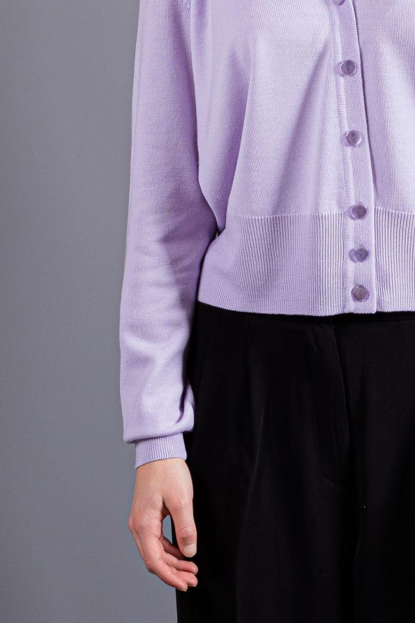 Light purple lilac womens cardigan for spring, summer and autumn. Merino wool sweater with buttons for office and leisure.